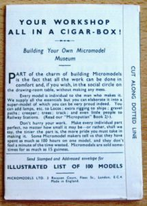 Workshop in a Cigarbox Micromodels history